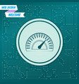 speedometer icon on a green background with vector image vector image
