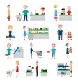 Supermarket People Set vector image vector image