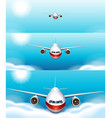 Three scenes of airplane flying in the sky vector image vector image