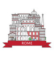 travel rome poster in linear style vector image vector image