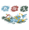 triathlon race grunge symbols vector image vector image