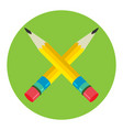two pencil icon flat logo vector image vector image