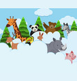 wild animals in the clouds vector image vector image
