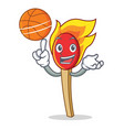 with basketball match stick character cartoon vector image vector image