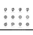 world and globe editable line icons vector image