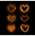 Fire hearts set vector image