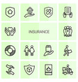 14 insurance icons vector image vector image