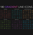 180 trendy gradient style thin line icons set vector image vector image
