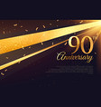 90th anniversary celebration card template vector image vector image