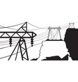 a power line goes through the mountain vector image