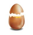 brown broken egg on white background vector image