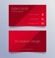 Business card template - sleek red design vector image vector image