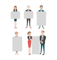 Business people hold banner set vector image