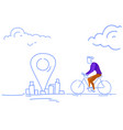 businessman riding bicycle destination geo tag vector image