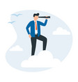 businessman standing on cloud with a vector image