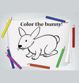 children bunny coloring worksheet vector image vector image