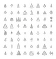 christmas tree icon set flat isolated design new vector image vector image