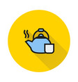 coffee kettle icon on round background vector image vector image