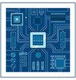 computer ic chip template microchip on detailed vector image vector image