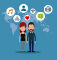 couple social media world icons vector image
