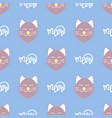 cute cat pattern with hand-drawn lettering vector image vector image