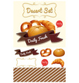 Dessert set with bread and bun vector image vector image