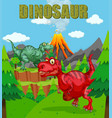 dinosaur poster with two t-rex in the field vector image vector image