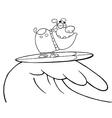 Dog surfing cartoon vector image vector image