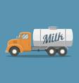 flat milk truck vector image vector image
