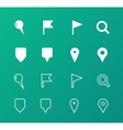 GPS and Navigation icons on green background vector image vector image