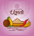happy ugadi indian food traditional mandala vector image