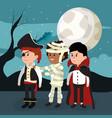 kids and halloween night vector image vector image