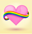 LGBT Background heart and rainbow ribbon vector image vector image