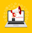 megaphone from laptop digital marketing vector image vector image