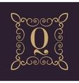 Monogram letter Q Calligraphic ornament Gold