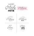mothers day hand made font set vector image