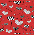 pattern with hand drawn hearts and arrows vector image vector image