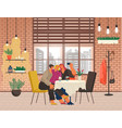 people taking selfie in coffeehouse friend in cafe vector image vector image