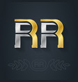 r and r - initials or gold and silver logo rr vector image vector image