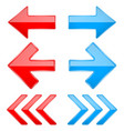 red and blue shiny 3d arrows previous and next vector image