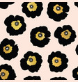 repeating pattern black and golden flowers vector image vector image