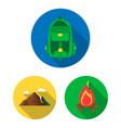 rest in the camping flat icons in set collection vector image vector image