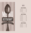 restaurant menu with price list and realistic vector image vector image