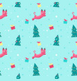 seamless pattern with cute christmas cats vector image