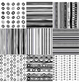 Set of black and white doodle patterns vector image vector image