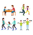 set of family pictures color vector image vector image
