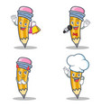 set of pencil character with shopping karaoke vector image vector image