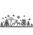 silhouette of deers and trees vector image vector image