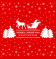 silhouette santa riding on reindeer sleigh vector image