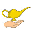 simple graphic a hand with a magic lamp vector image